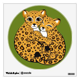 Amur Leopard Cubs Cuddling Art Wall Sticker