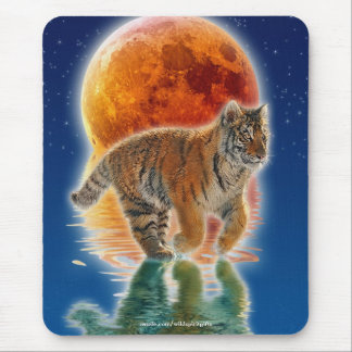 Amur Tiger Cub & Moon Fantasy Wildlife Mousepad