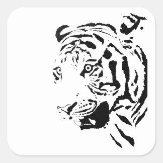 Amur Tiger Drawing Square Sticker