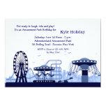 "Amusement Park (Blue) Invitation 5"" X 7"" Invitation Card"