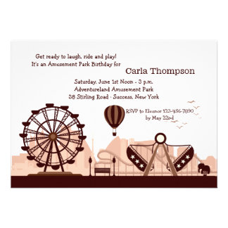 Amusement Park Brown Invitation