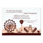 """Amusement Park (Brown) Invitation 5"""" X 7"""" Invitation Card"""