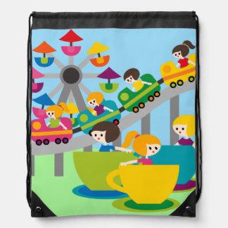 Amusement Park Fun Drawstring Backpack Bag