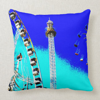 amusement park in amsterdam posterize effect photo throw pillow