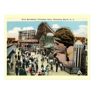 Amusement Park, Roackway Beach, New York Vintage Postcard