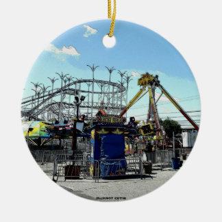 Amusement Park Roller Coaster Old Orchard Beach ME Ceramic Ornament