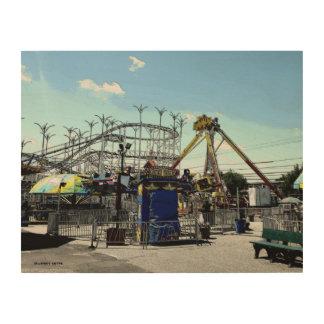 Amusement Park Roller Coaster Old Orchard Beach ME Wood Print