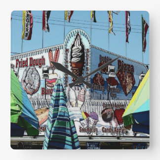 Amusement Park Snack Stand Old Orchard Beach Maine Square Wall Clock
