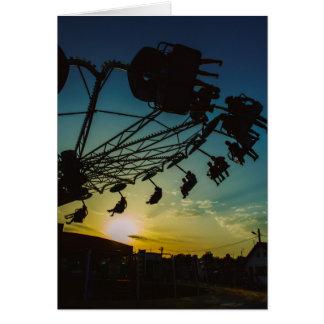 Amusement park sunset greeting card