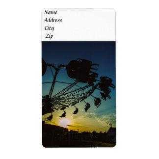Amusement park sunset personalized shipping label
