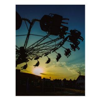 Amusement park sunset postcards