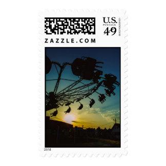 Amusement park sunset stamps