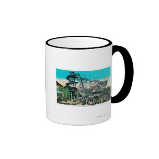 Amusement Rides at the Pike, Long Beach Ringer Coffee Mug