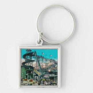 Amusement Rides at the Pike, Long Beach Silver-Colored Square Keychain