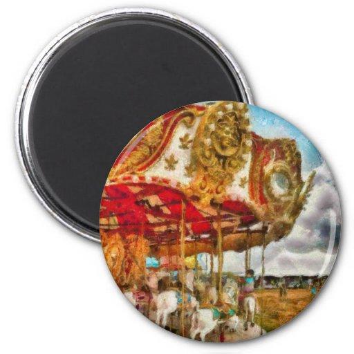Amusement - The Merry-go-round 2 Inch Round Magnet