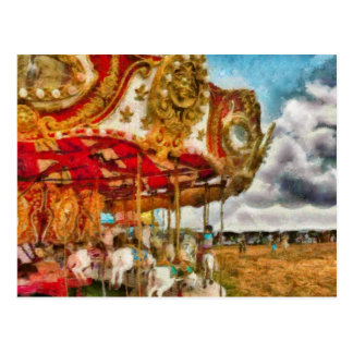 Amusement - The Merry-go-round Postcard