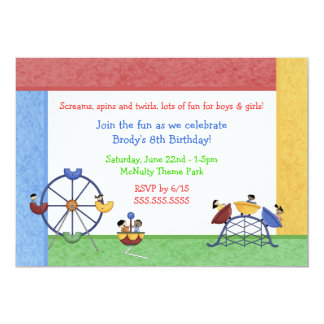 Amusement Theme Park Birthday Invitation