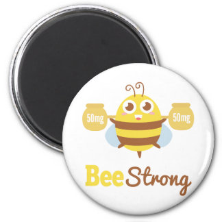 Amusing and Cute Bee Strong Cartoon 2 Inch Round Magnet
