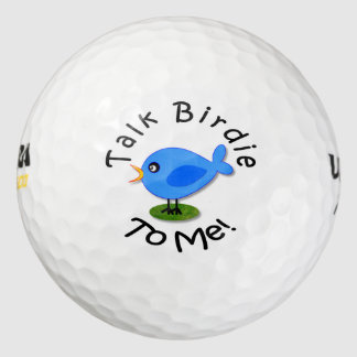 "Amusing Cute Blue Bird ""Talk Birdie To Me"" Golf Balls"