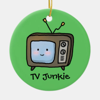 Amusing Cute Retro TV Junkie Doodle Ceramic Ornament