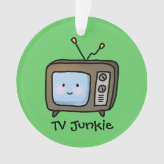 Amusing Cute Retro TV Junkie Doodle Ornament