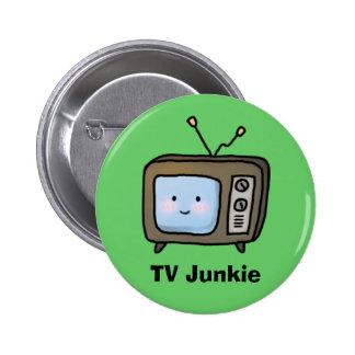 Amusing Cute Retro TV Junkie Doodle Pinback Button
