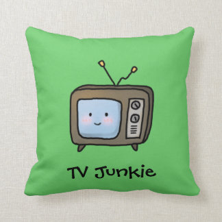 Amusing Cute Retro TV Junkie Doodle Throw Pillow