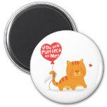Amusing Pun Love Humor Cute Kitty Cat Cartoon 2 Inch Round Magnet
