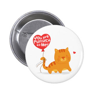 Amusing Pun Love Humor Cute Kitty Cat Cartoon Pinback Button