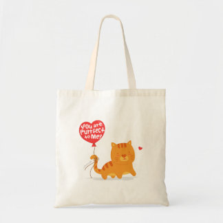 Amusing Pun Love Humor Cute Kitty Cat Cartoon Tote Bag