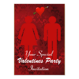 Amusing Red Valentines Day Party 5x7 Paper Invitation Card