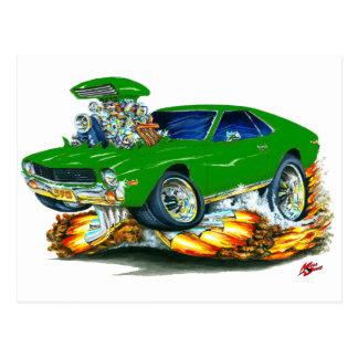 AMX Green Car Postcard