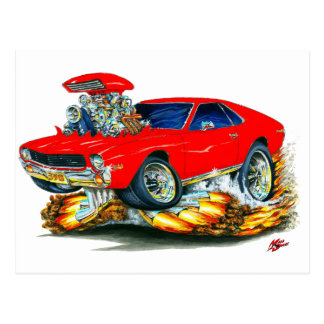 AMX Red Car Postcard
