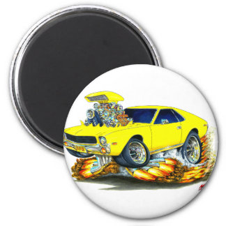 AMX Yellow Car 2 Inch Round Magnet