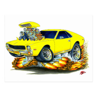 AMX Yellow Car Postcard