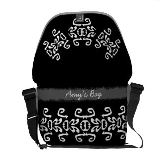 Amy Black & White Scrolls Classy Commuter Bag