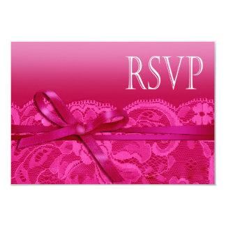 Amy Bows Ribbon & Lace RSVP fuschia Card