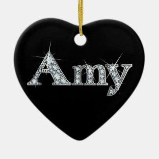 "Amy ""Diamond Bling"" Double-Sided Heart Ceramic Christmas Ornament"