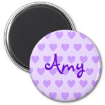 Amy en púrpura imán redondo 5 cm