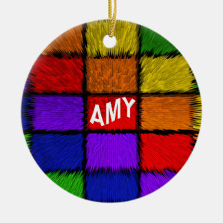 AMY ( female names ) Double-Sided Ceramic Round Christmas Ornament