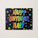 "[ Thumbnail: ""Amy"" First Name, Fun ""Happy Birthday"" Jigsaw Puzzle ]"