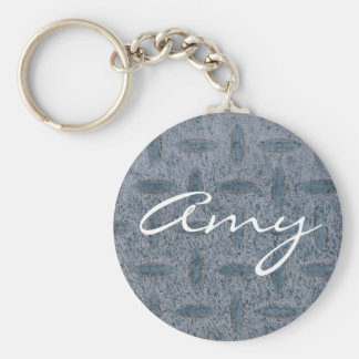 Amy keychain with grey checker plate background