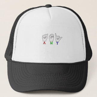 AMY NAME ASL FINGERSPELLED SIGN TRUCKER HAT