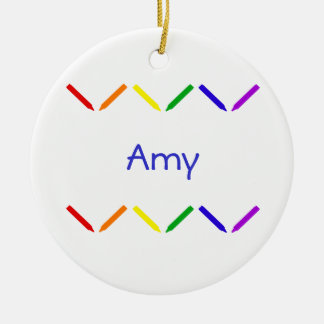 Amy Double-Sided Ceramic Round Christmas Ornament