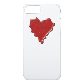 Amy. Red heart wax seal with name Amy iPhone 7 Case
