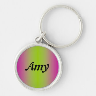 Amy Silver-Colored Round Keychain