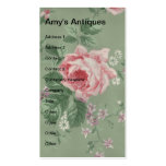 Amy's Antiques, Vintage Floral Double-Sided Standard Business Cards (Pack Of 100)