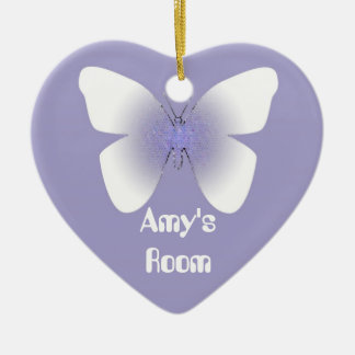 Amy's Room, purple & white butterfly Double-Sided Heart Ceramic Christmas Ornament