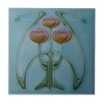 """AN001 Art Nouveau Reproduction Antique Tile<br><div class=""""desc"""">Historical antique tile reproduced on a smooth surface 4.25&quot; or 6&quot; ceramic tile. Perfect for interior tile wall accents, backsplashes, fireplace surrounds, bathroom and showers walls, kitchens and craft projects. Not intended for outdoor use. Our tiles are copies of costly authentic original antique tiles. Suggestion: Order one tile to review...</div>"""