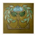 """AN007 Art Nouveau Reproduction Antique Tile<br><div class=""""desc"""">Historical antique tile reproduced on a smooth surface 4.25&quot; or 6&quot; ceramic tile. Perfect for interior tile wall accents, backsplashes, fireplace surrounds, bathroom and showers walls, kitchens and craft projects. Not intended for outdoor use. Our tiles are copies of costly authentic original antique tiles. Suggestion: Order one tile to review...</div>"""